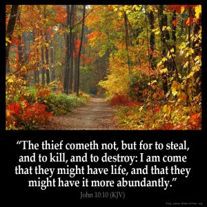 The thief cometh not but for to steal and to kill and to destroy